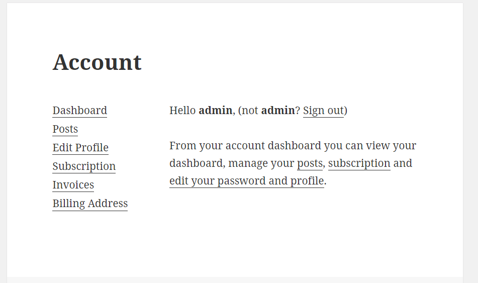 Create Unified My Account Page