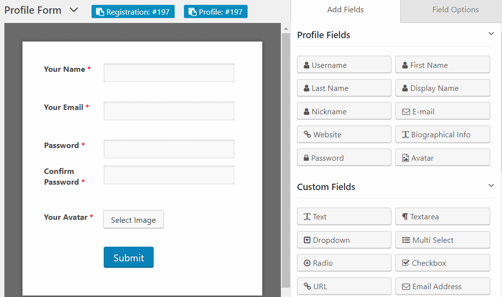 Build User Profile Forms on the Fly