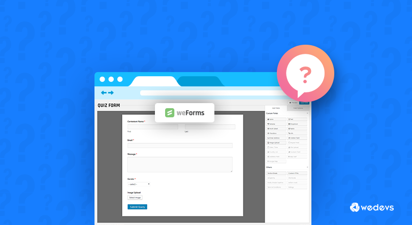 wordpress quiz using weForms