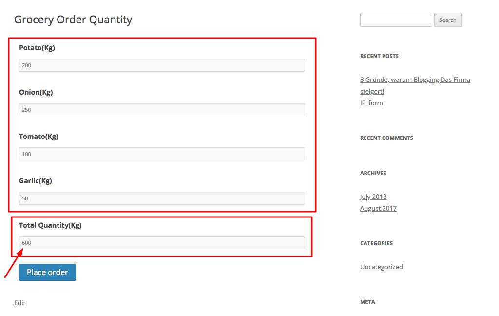Total quantity added frontend