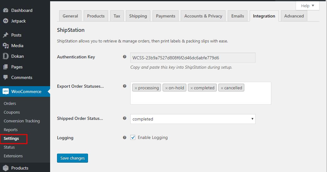 Admin shipstation settings