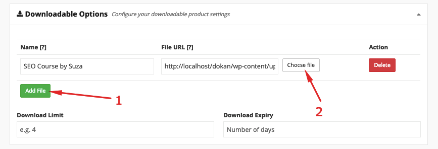 add file using Dokan marketplace solution