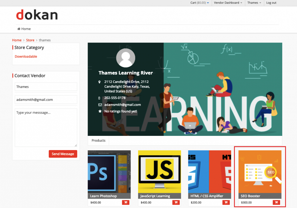 sell online courses using Dokan