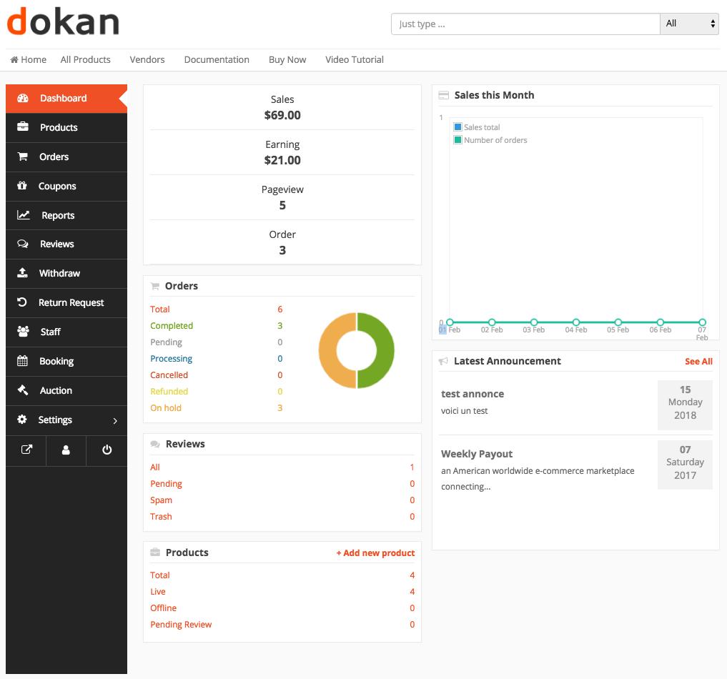 Dokan's top features and modules - Vendor Dashboard Dokan's top features