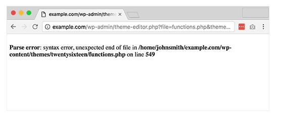 Common WordPress error