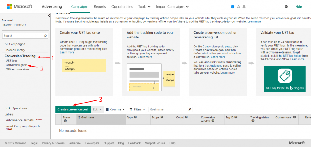 Create Conversion goals in Bing Ads