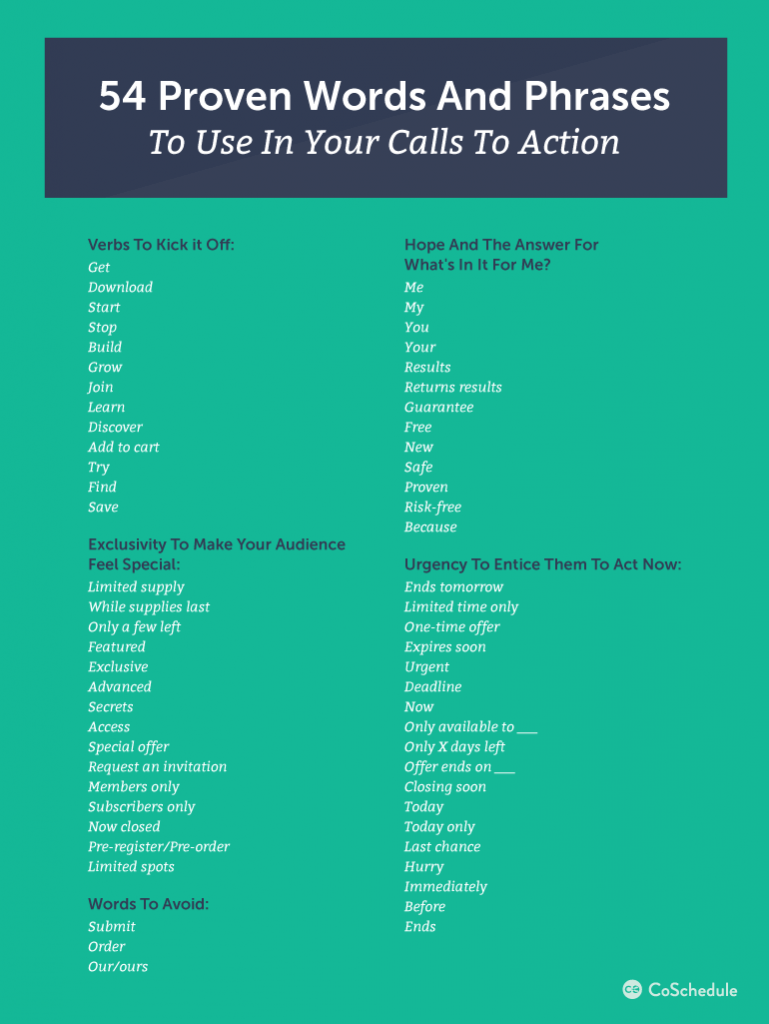 call to action words