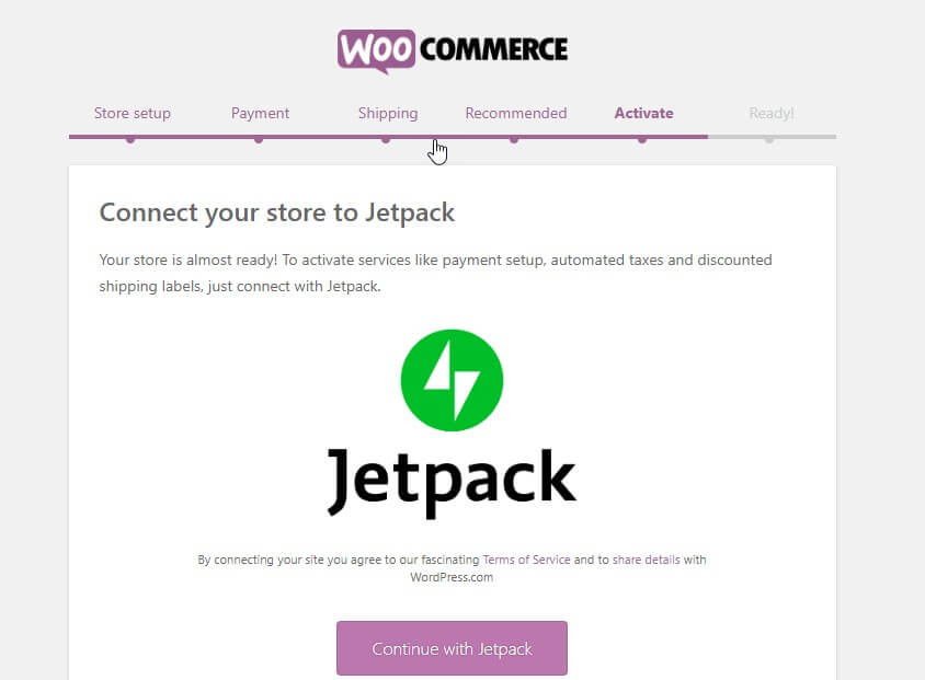 Install WooCommerce with jetpack