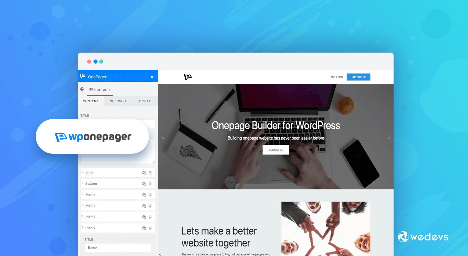 WPOnepager- The Easiest Landing Page Builder For WordPress