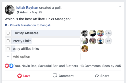 Thirsty Affiliate is the Best Link manager.