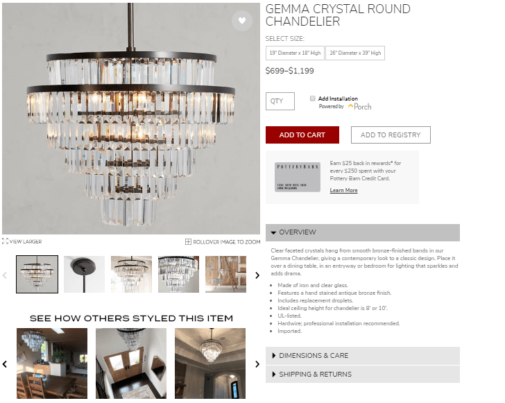 Pottery Barn product description