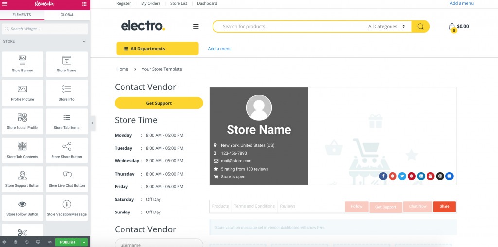 Build online marketplace with Elementor