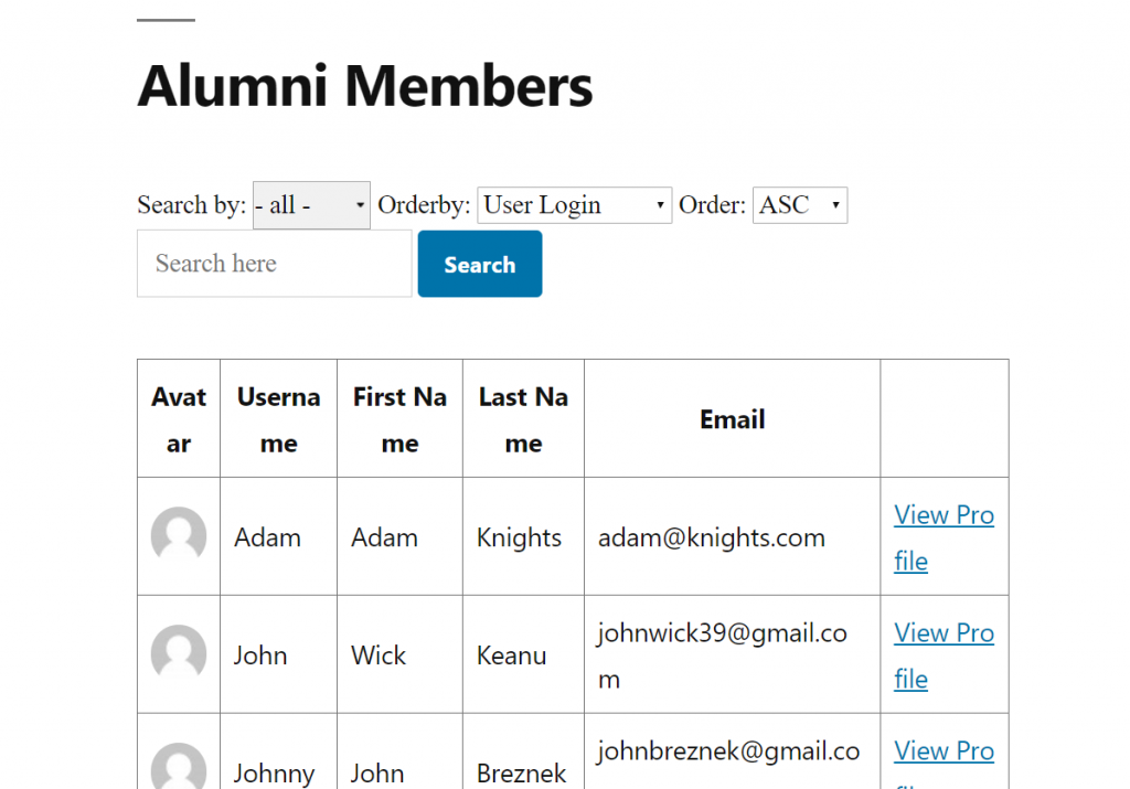how to create an alumni site