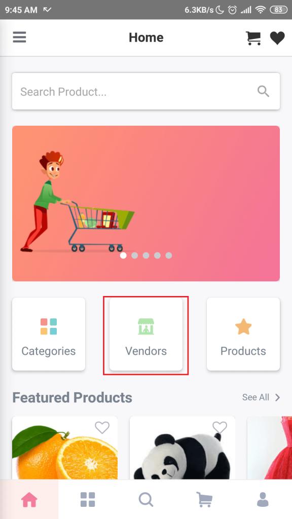 Mobile App vendors Button Mobile App Add a Vendor