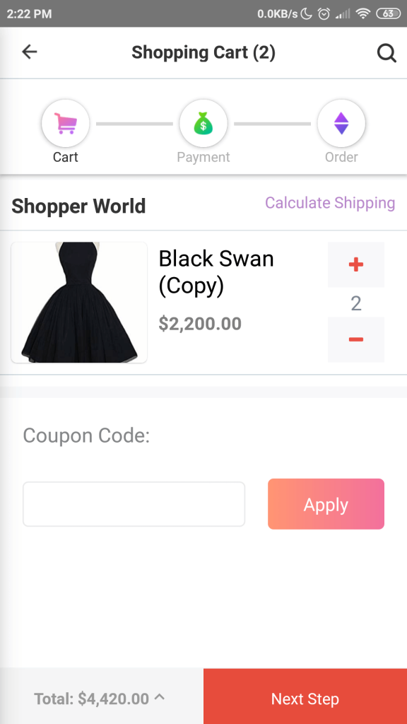 Cart Buying product Dokan mobile app