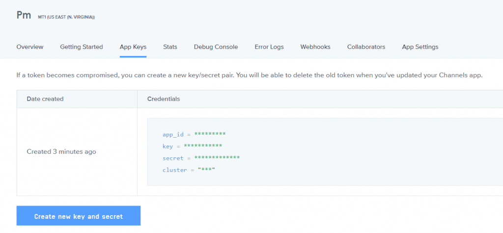 Copy the app id, key id, secret key id, and cluster id.