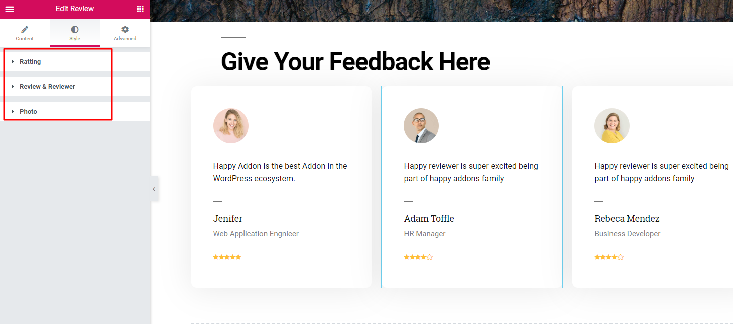 How to stylize review page