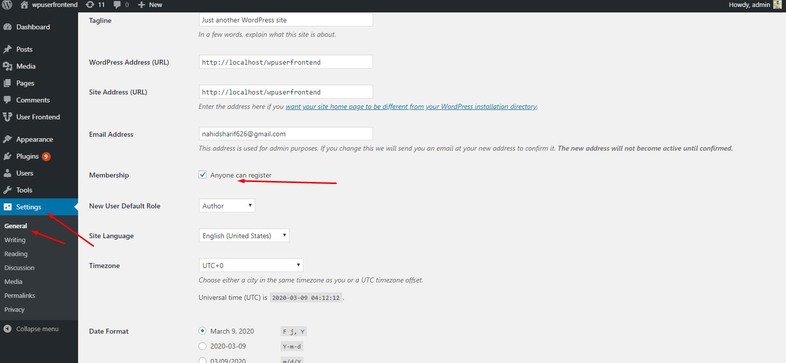 Set User Role & Registration Page