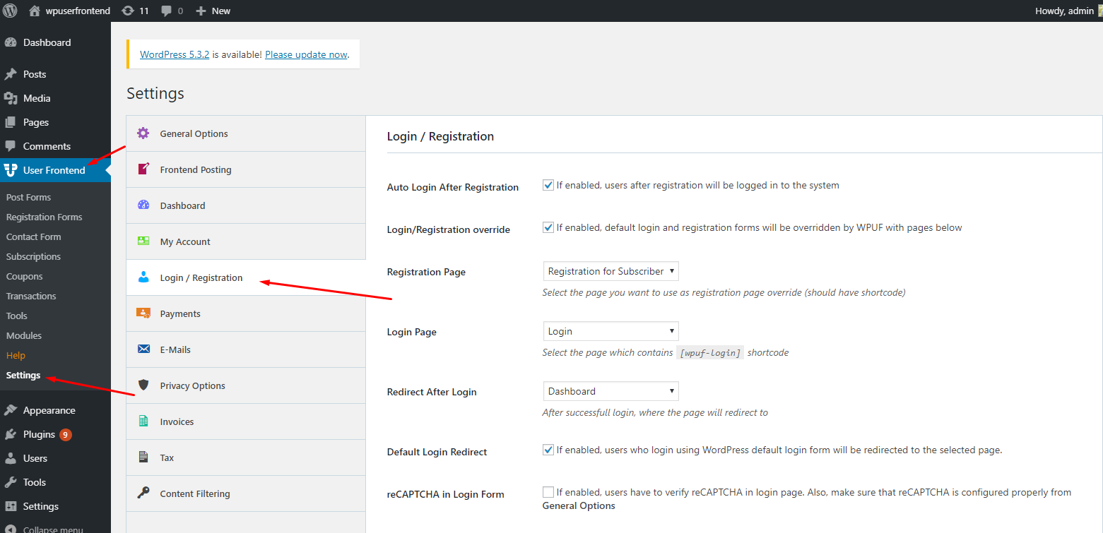 WordPress frontend login
