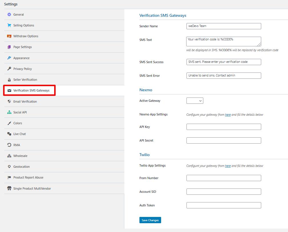 SMS Gateway Settings