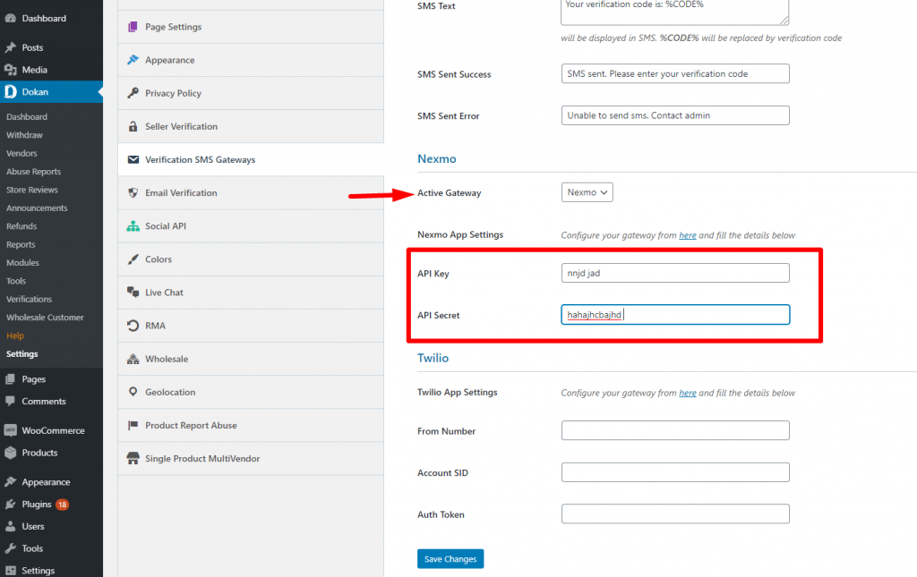 Verification SMS settings