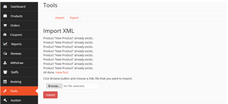 import xml at ease