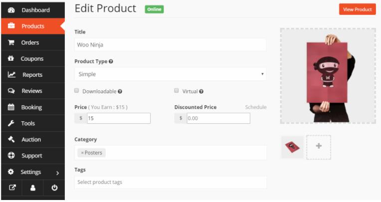 edit product with single product multivendor dokan module