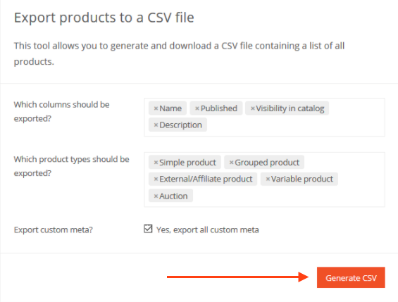 generate csv to export