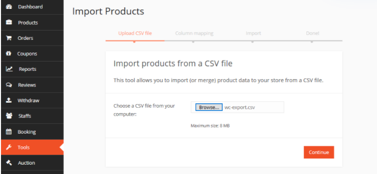 import csv with export import dokan modules