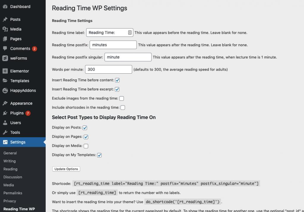 adding estimated time for blog posts