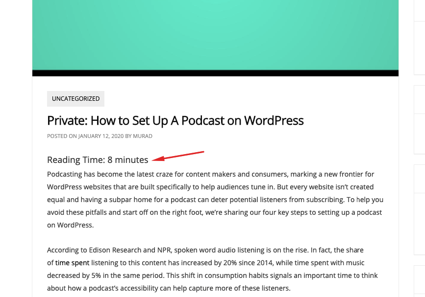 displaying estimated time for blog posts