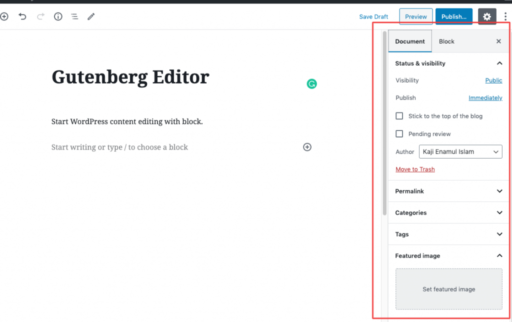 wordpress content editor document