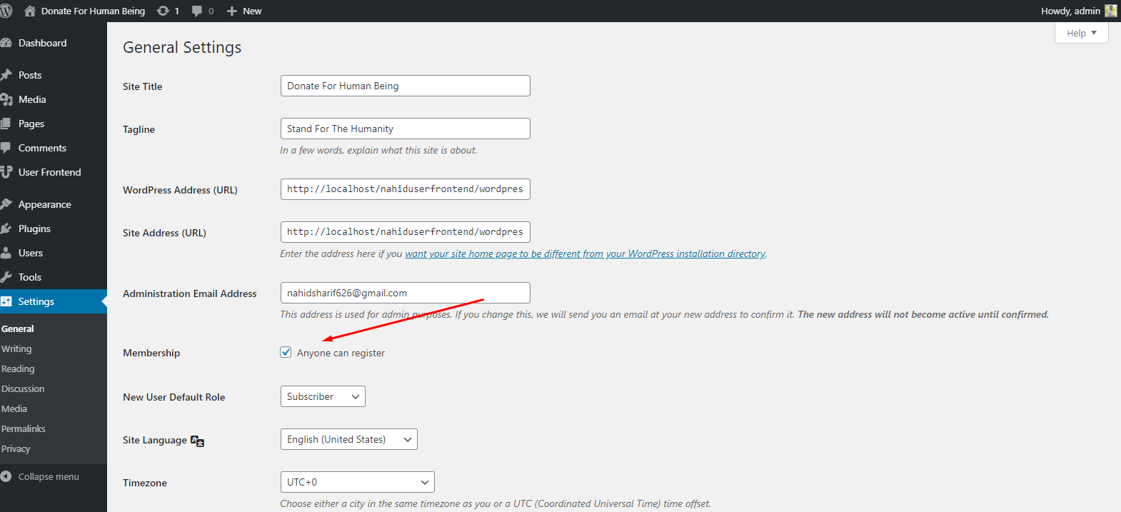 Activating WordPress users role