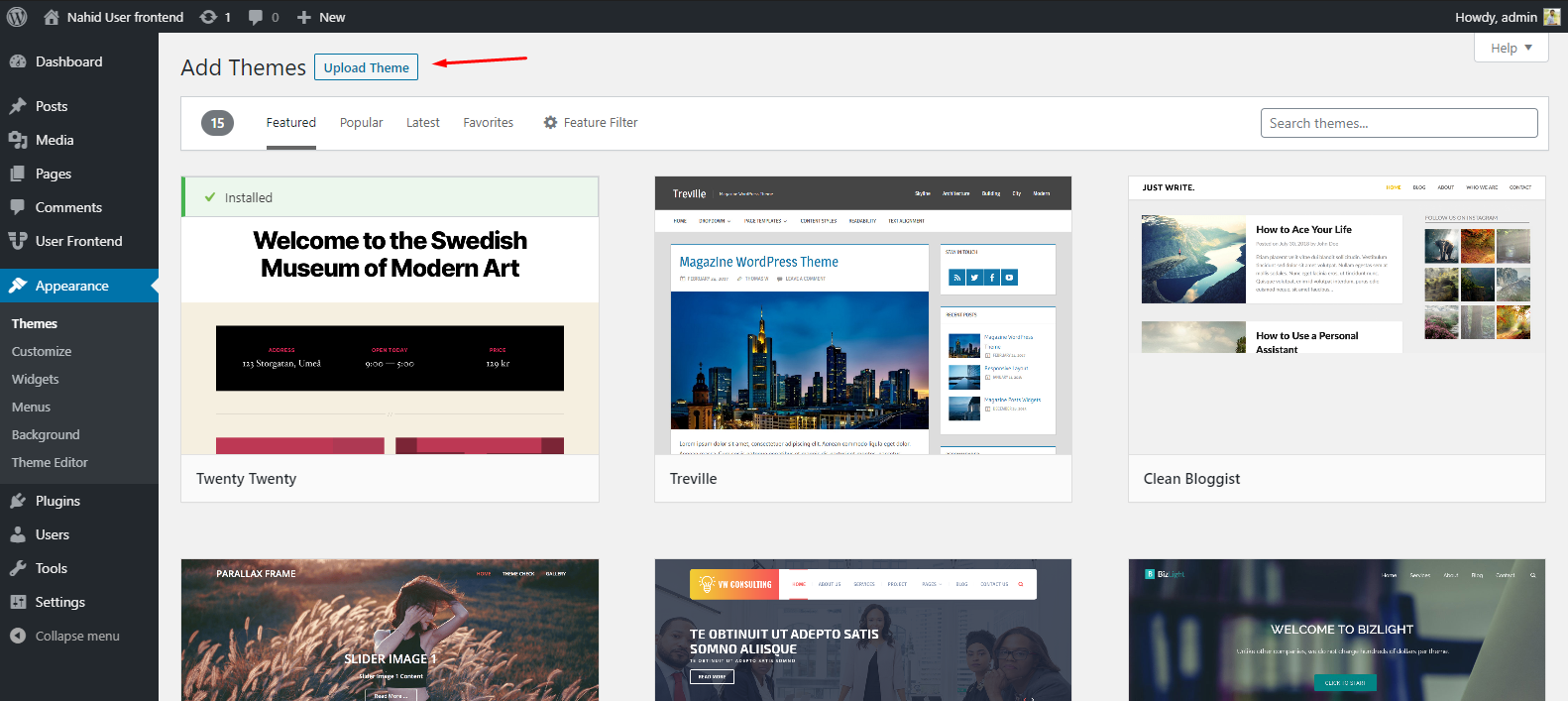How to upload a theme a Nonprofit website