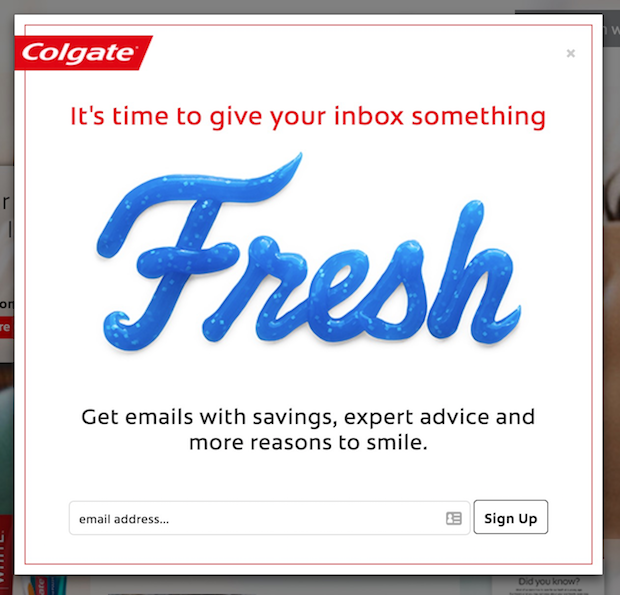 Colgate's pop-up ads
