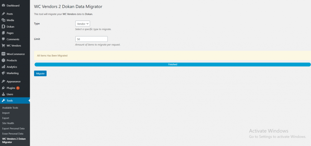 migrate done