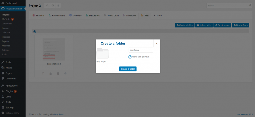Creating a folder pop-up_Project Manager files