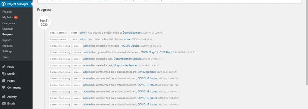 Progress- WordPress Project Manager Plugin