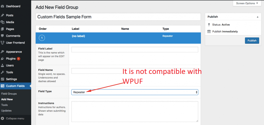 WPUF ACF Pro Plugin Repeater Field