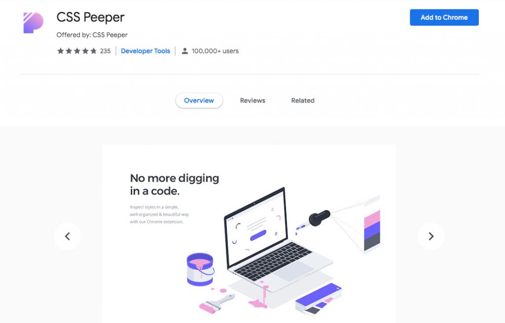 CSS Peeper Chrome WordPress extension
