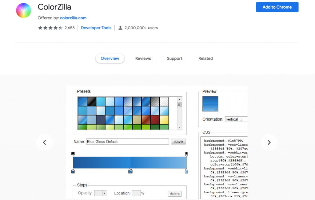 Color Zilla extension chrome WordPress