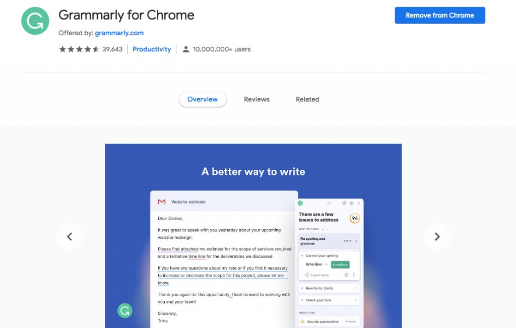 Grammarly Chrome WordPress extension