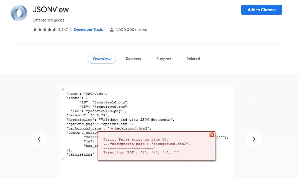JSONview Chrome WordPress extension