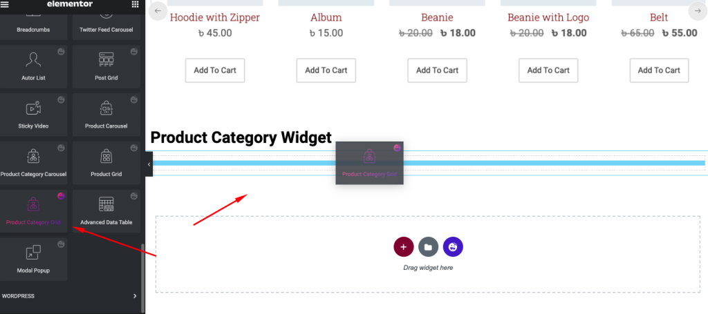 Product category widget