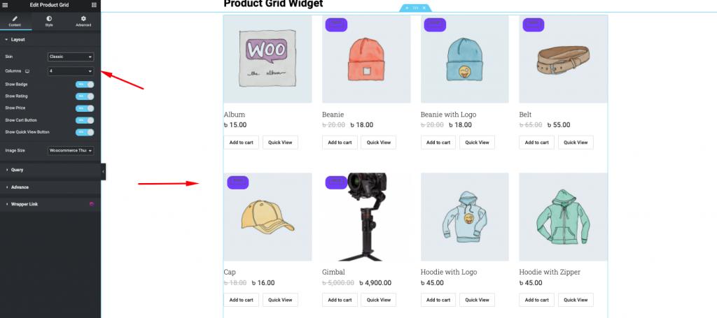 product grid widget
