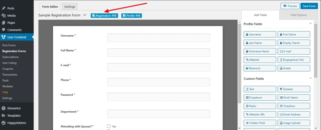 Create a Registration Form