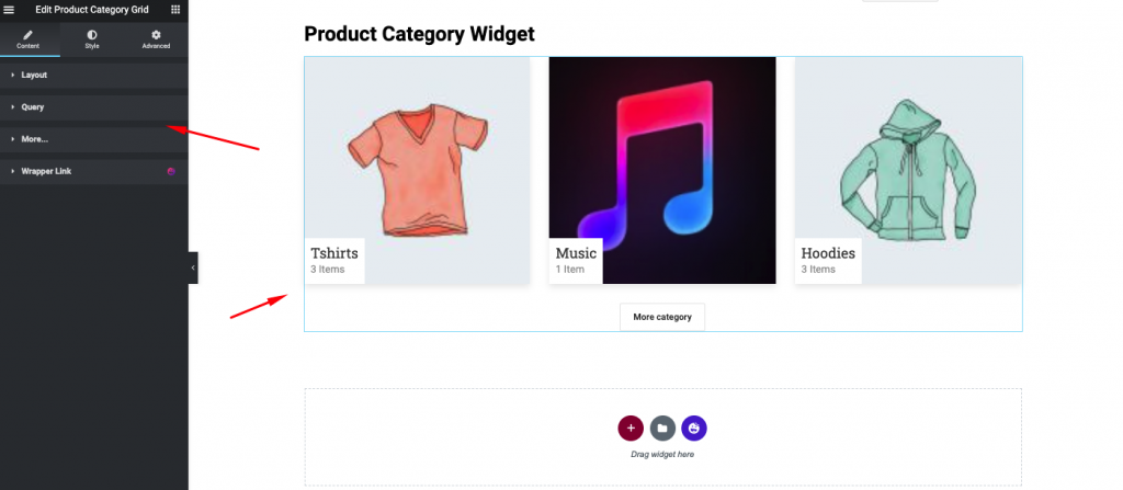 Settings of Product category
