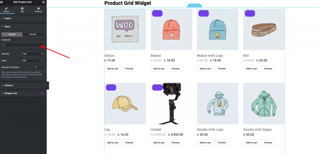 Product grid query