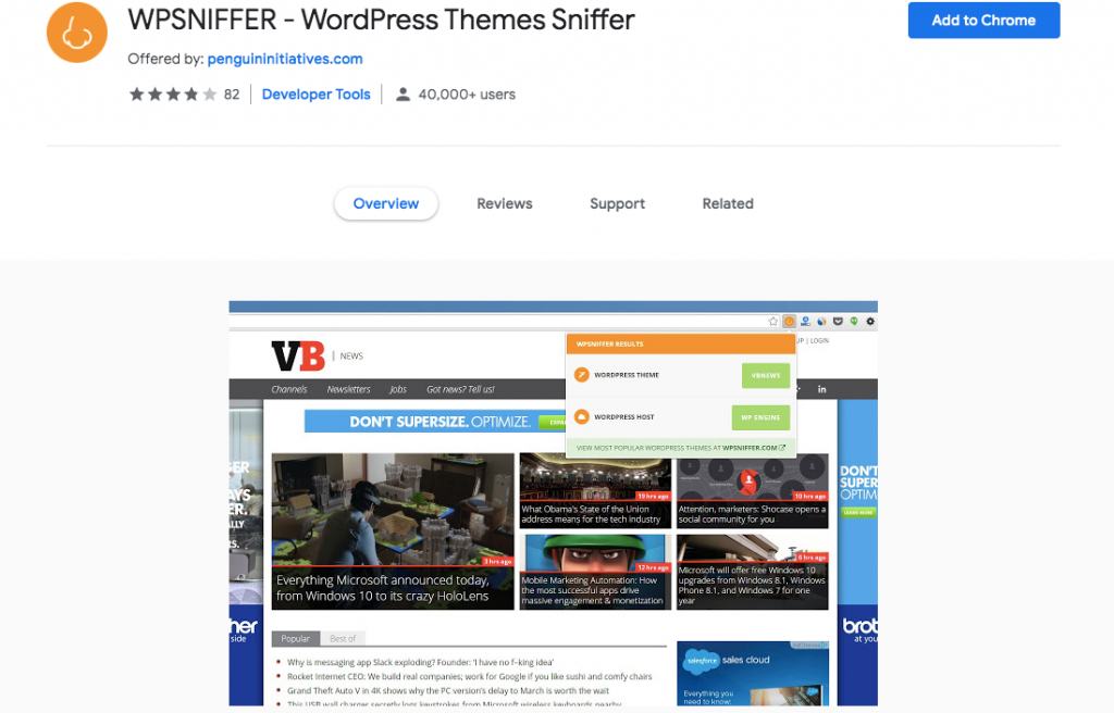 WP Sniffer Chrome extension