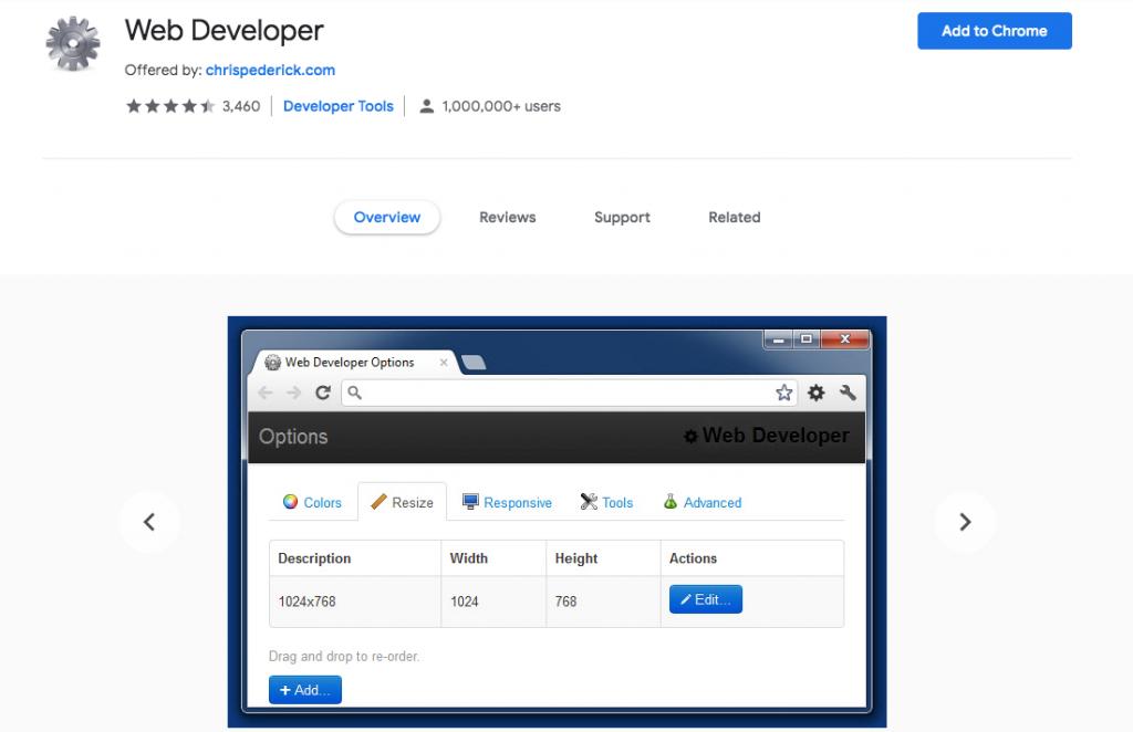 Web developer Chrome WordPress extension